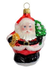 Mittlerer Weihnachtsmann Mit Baum Und Geschenk Glasblaserei
