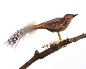 Mini Vogel Gespritzt Perlhuhn Feder Glasblaserei Thuringer